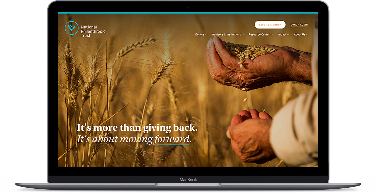 Nonprofit web design with full screen hero banner image