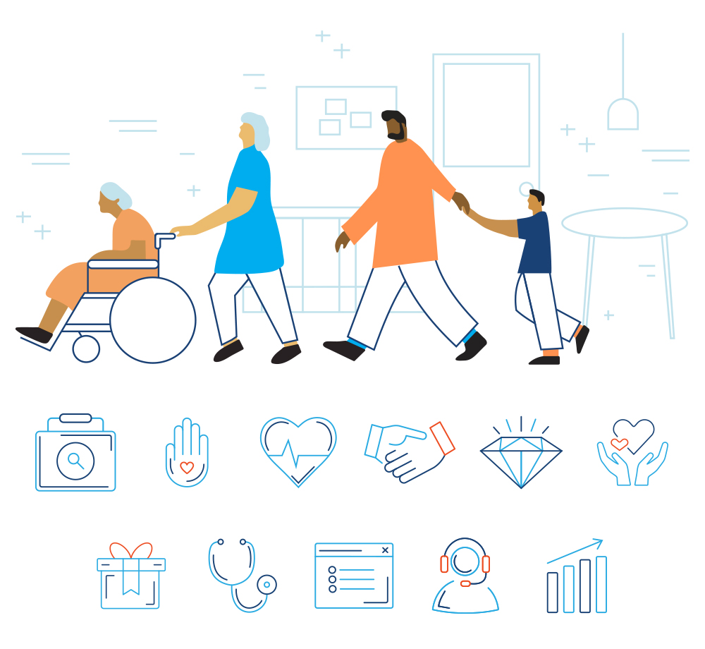 Custom illustration and digital iconography for Open Systems Healthcare, a Philadelphia-based healthcare service