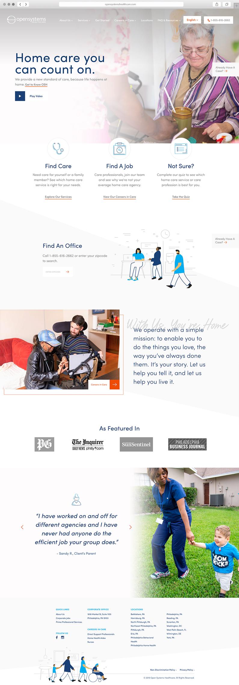 UI design for Open Systems Healthcare, a Philadelphia-based healthcare service