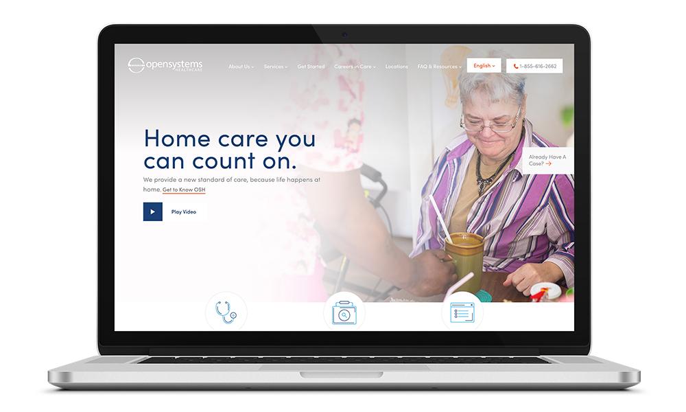 Web design for Open Systems Healthcare, a Philadelphia-based healthcare service
