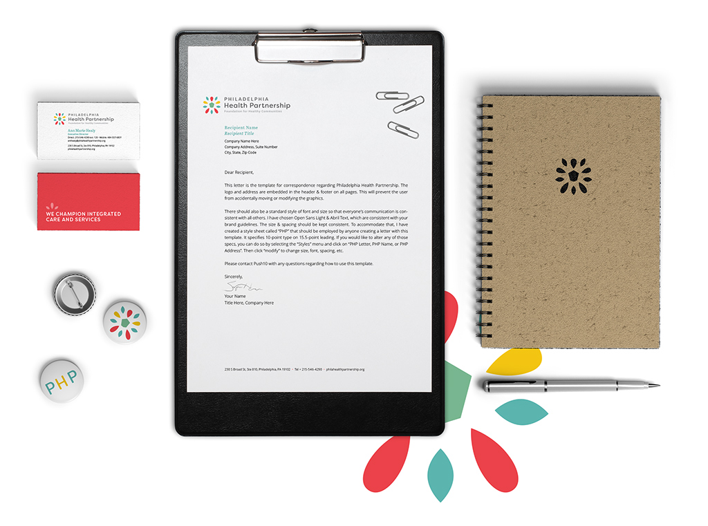 Branding and corporate identity materials for Philadelphia Health Partnership