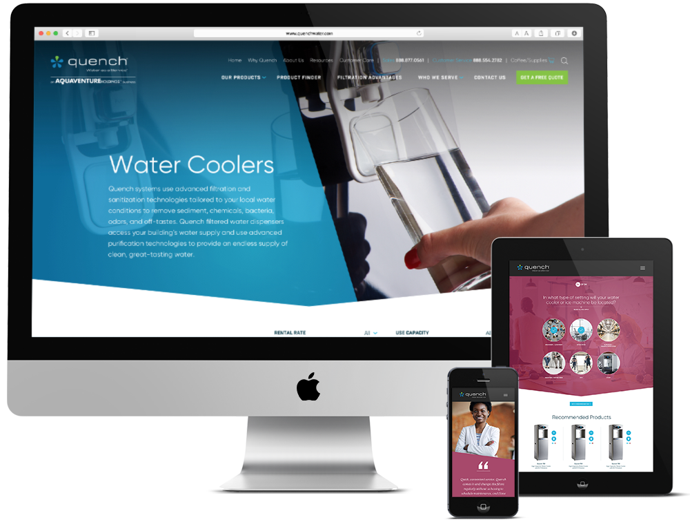 Quench responsive website design shown on desktop, tablet and mobile devices