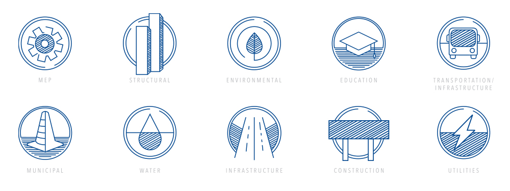 Custom icon design for Remington & Vernick Engineers, a Philadelphia-based engineering firm