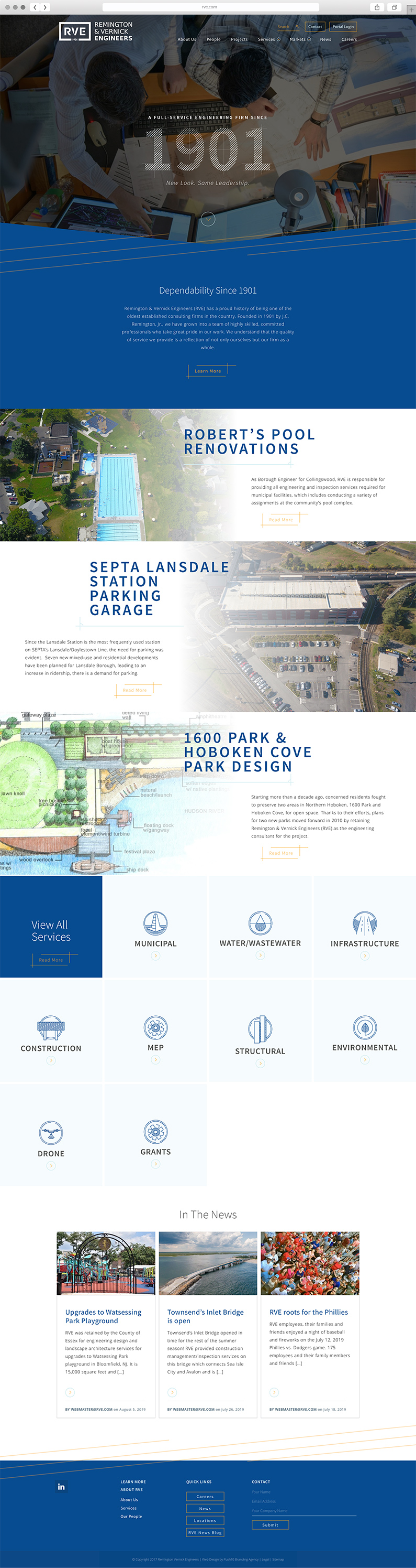 UX and UI design for Remington & Vernick Engineers, a Philadelphia-based engineering firm