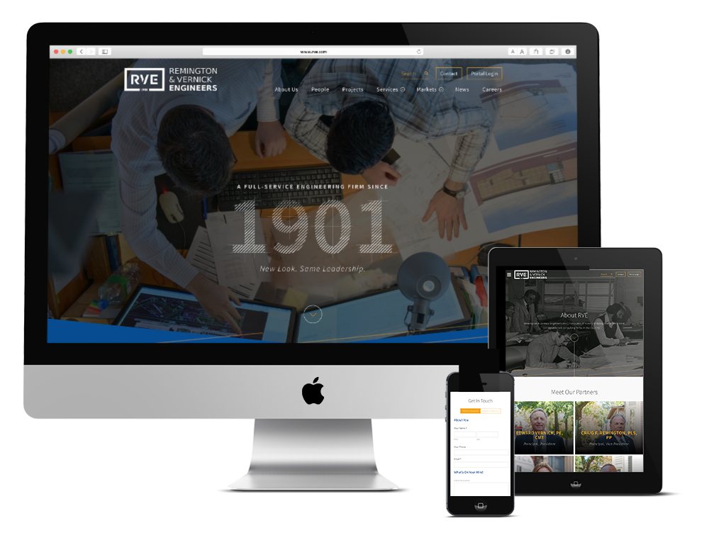 Responsive website design for Remington & Vernick Engineers, a Philadelphia-based engineering firm