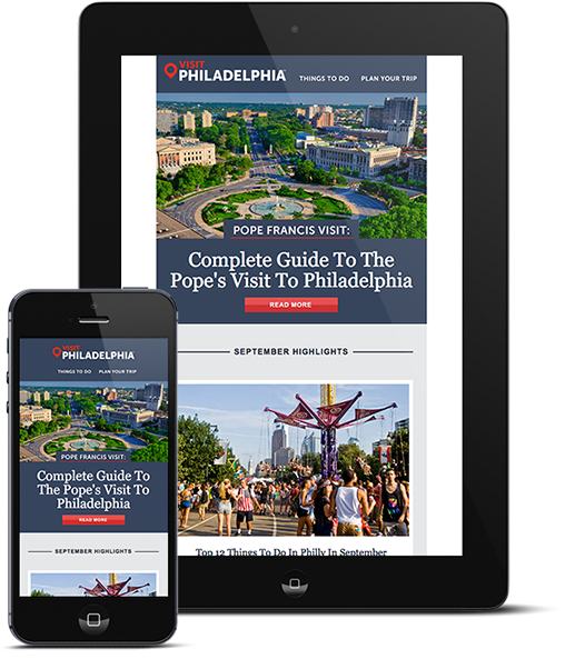Responsive Email Template Design Shown on Tablet and Phone, visit philly, visit philadelphia, philadelphia, push10, email marketing, email template design, email marketing design, brand strategy, responsive email template