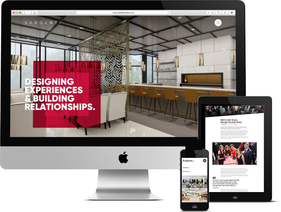 Responsive architecture web design shown on mobile devices