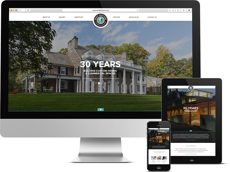 Responsive web design for Philadelphia home builder, Website Architecture for Philadelphia Construction Company, ernst brothers, ernst brothers construction, push10, web design, graphics, branding, web development, responsive web design, architecture web site