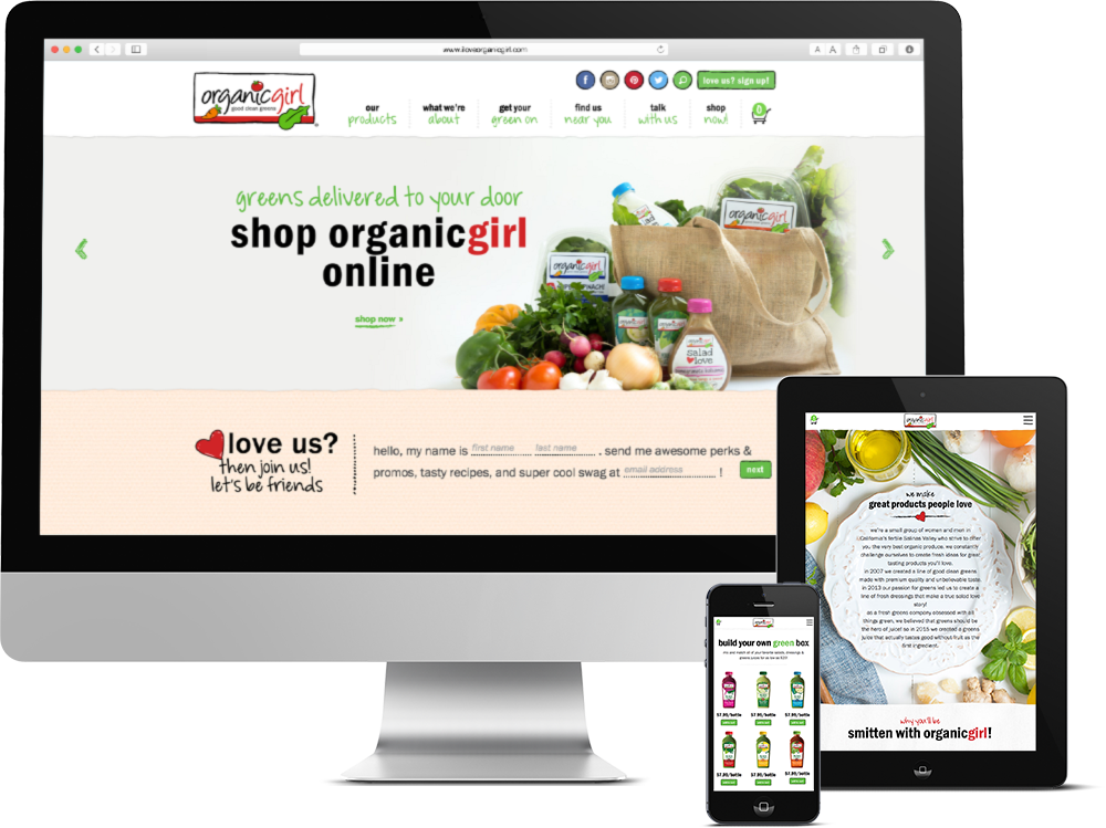 Package Design for California Organic Food Processing Company, Organicgirl, organicgirl site, push10, natural food web deisgn, organic food website, branding, web development, custom photography, natural food website