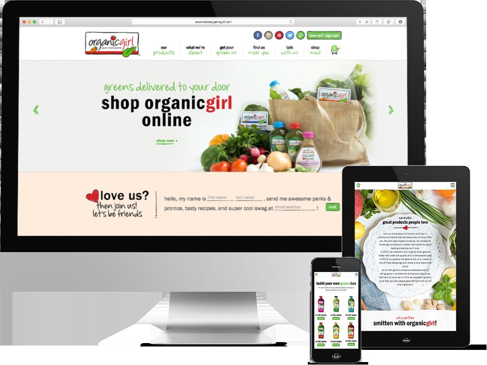 Package Design for California Organic Food Processing Company, Organicgirl, organicgirl site, push10, natural food web deisgn, organic food website, branding, web development, custom photography, natural food website