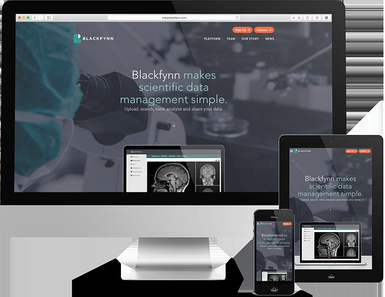 Medical Research website design on mobile, tablet, and desktop computer