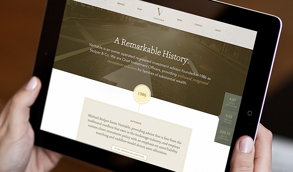 Responsive website timeline for financial services firm