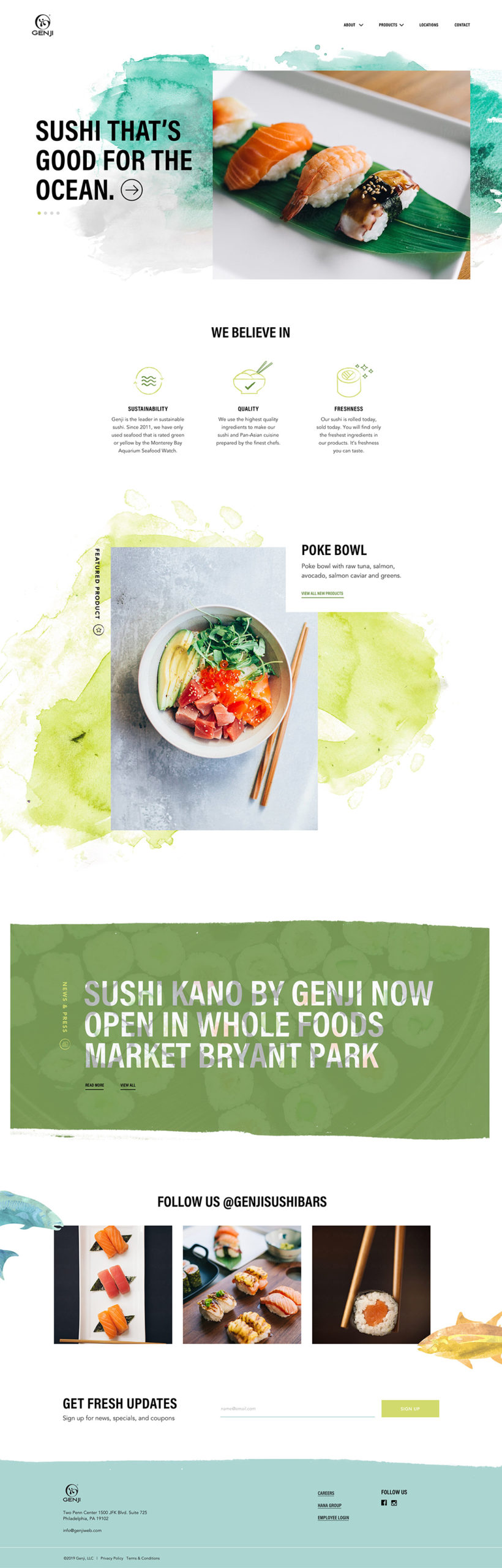 Homepage Web Design for Sushi Brand