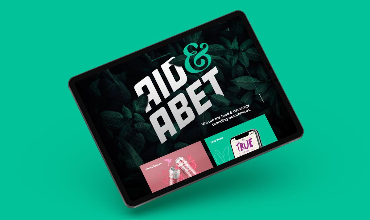 Responsive web design for food and beverage design studio Aid&Abet