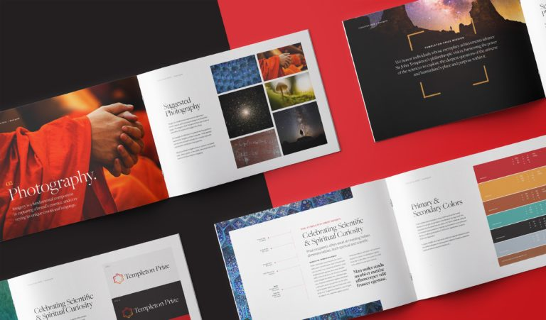 Brand style guide design for Templeton Prize, an award honoring progress in science and spirituality