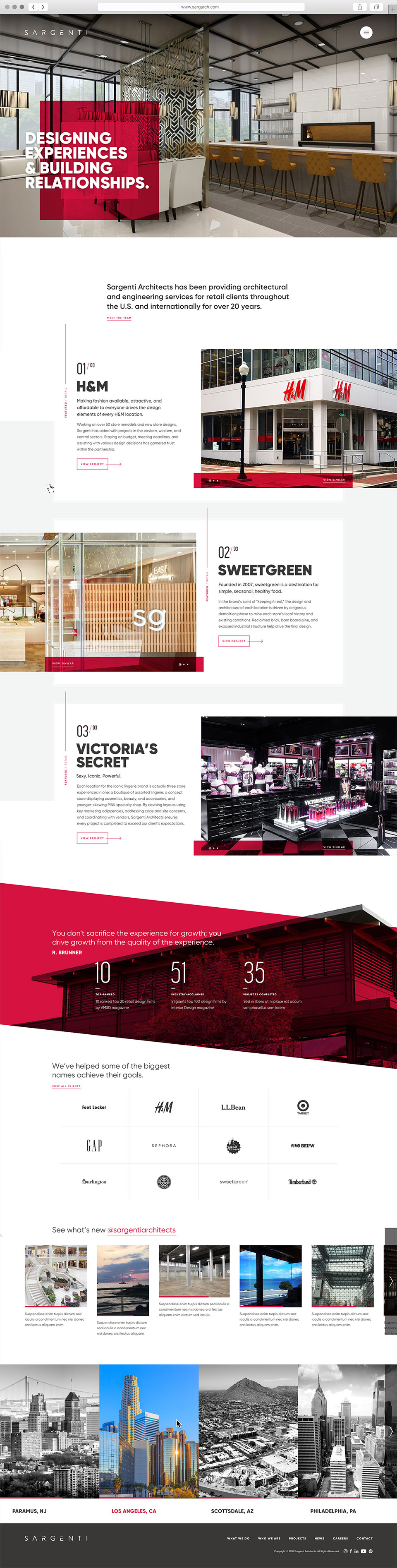 Homepage user interface design for architecture firm