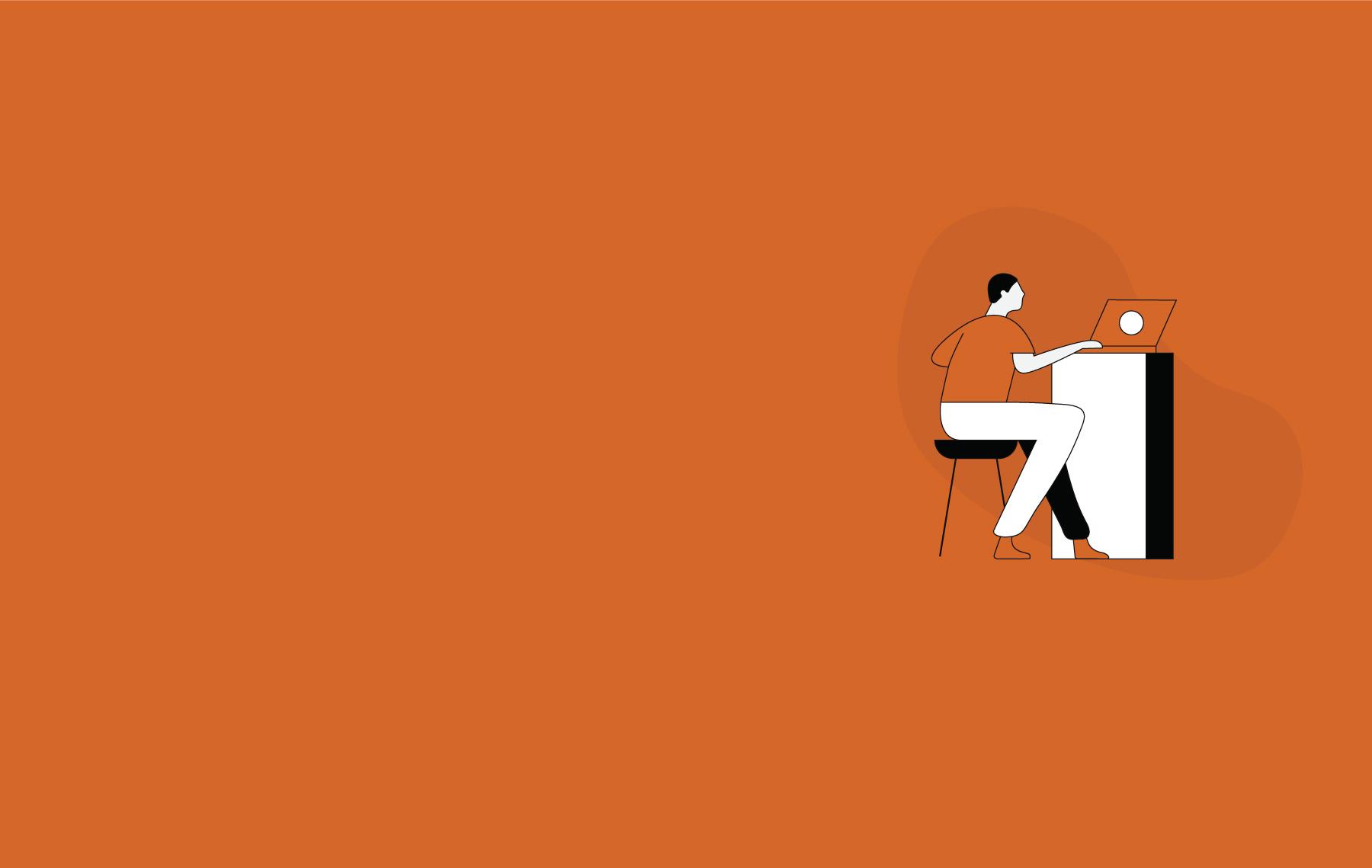 Illustration of man conducting virtual remote workshop