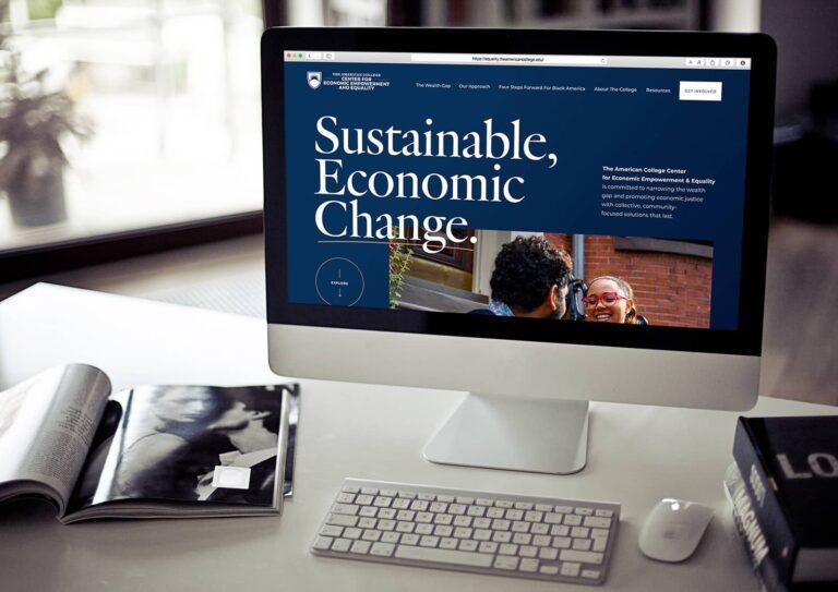 nonprofit web design homepage shown on desktop
