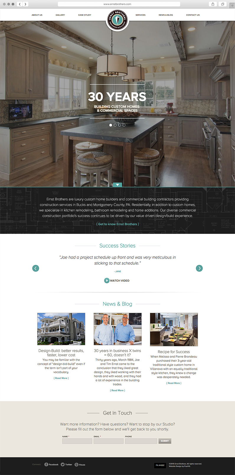 Website homepage design for Ernst Brothers Construction Company, Website Architecture for Philadelphia Construction Company, ernst brothers, ernst brothers construction, push10, web design, graphics, branding, web development, responsive web design, architecture web site