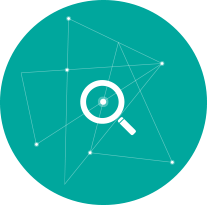 Teal blue magnifying glass search icon by Push10