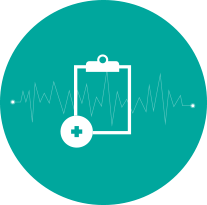 Teal blue medical clipboard icon by Push10