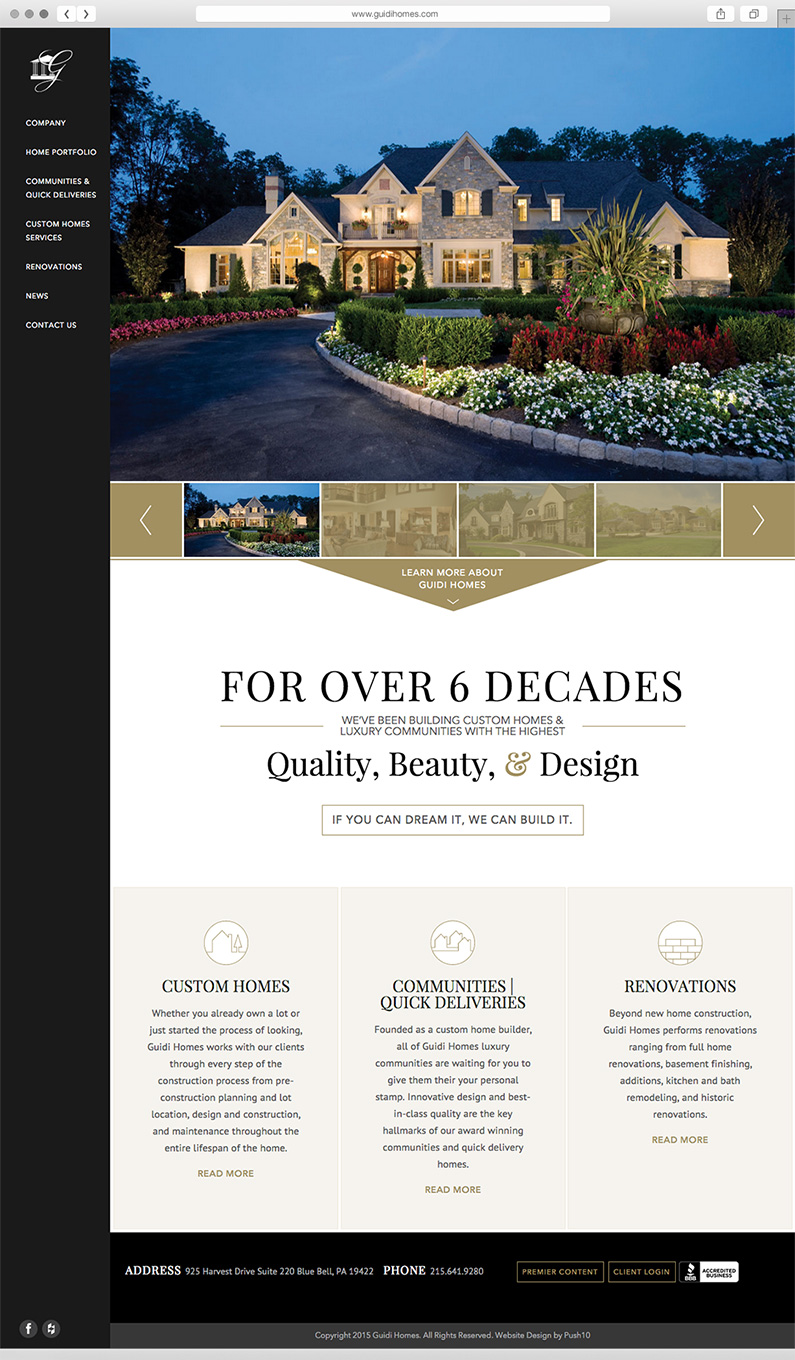 Responsive website interface design for Philadelphia-area home builder