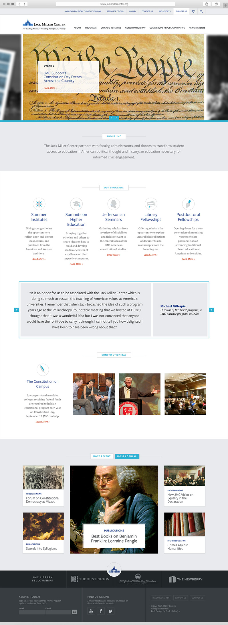 Custom WordPress Theme for Philadelphia Non-Profit Organization, push10 website design, push10 branding, push10 web design, philadelphia web design, custom illustration, graphic design, jack miller center, jack miller center website, responsive web design