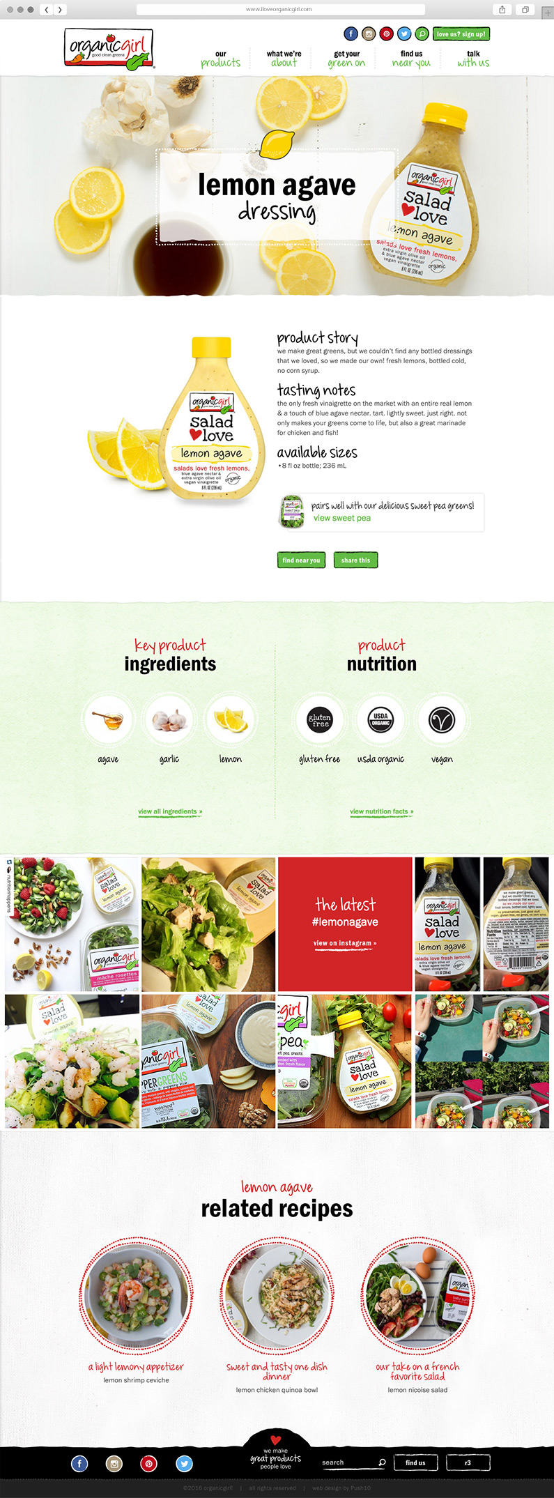 Website User Interface Design for Organicgirl in California, Package Design for California Organic Food Processing Company, Organicgirl, organicgirl site, push10, natural food web deisgn, organic food website, branding, web development, custom photography, natural food website