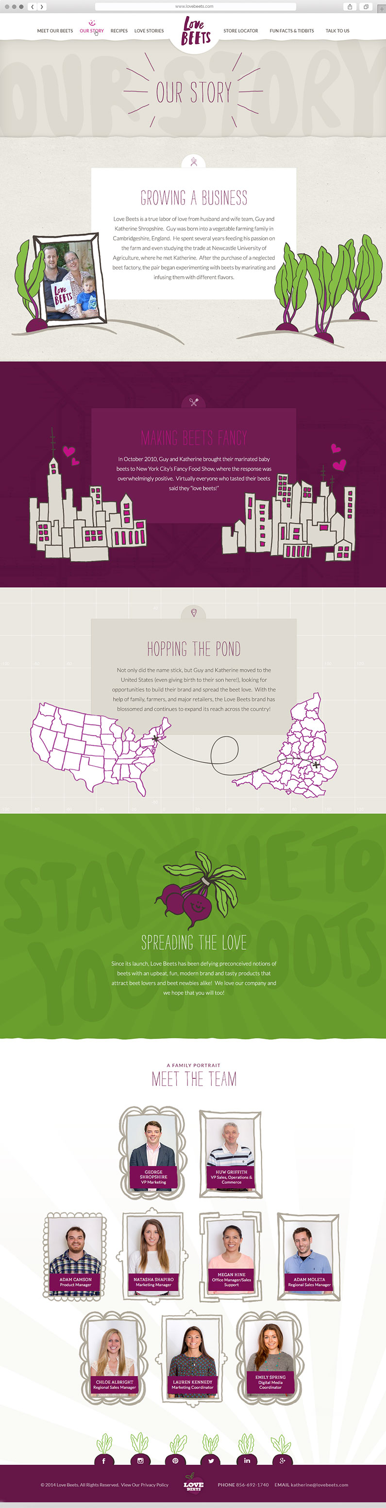 Long Scroll Storytelling About Page for Love Beets Website