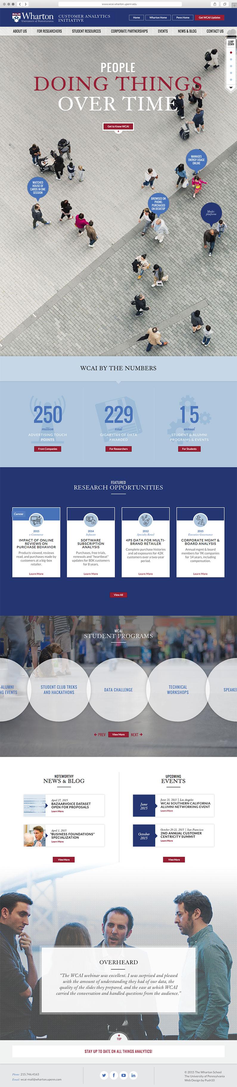 Wharton Customer Analytics Initiative, Wharton, Web design, website design philadelphia, push10, responsive web design