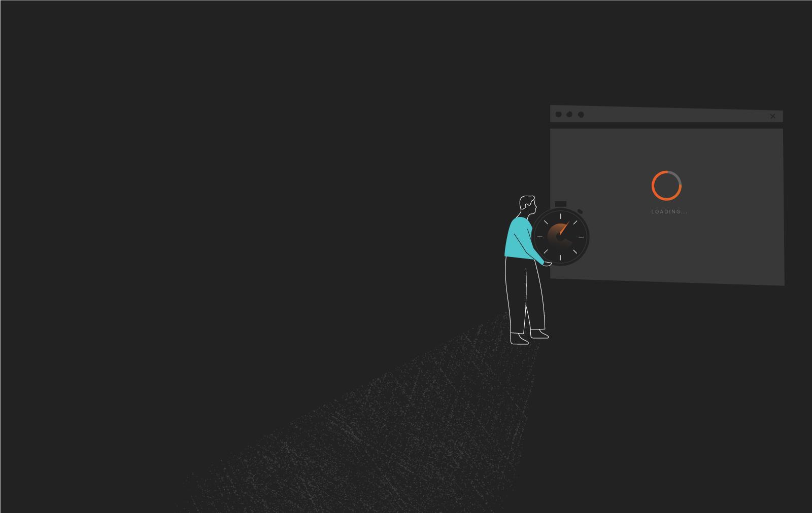 Illustration of Web Developer Measuring Site Speed